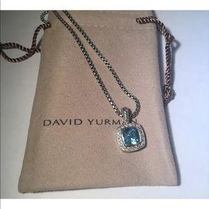 "DY 7x7mm Blue Topaz &Diamonds Albion Necklace 17"""